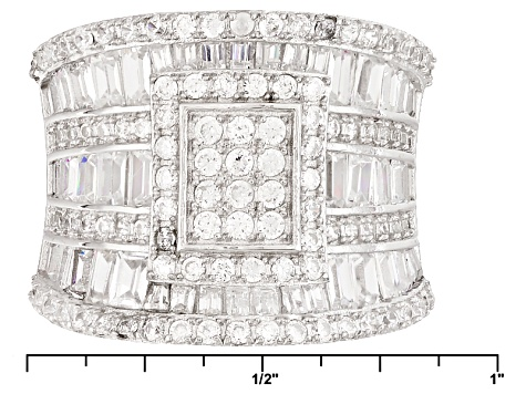 White Cubic Zirconia Rhodium Over Sterling Silver Ring 3.62ctw