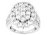 Cubic Zirconia Rhodium Over Sterling Silver Ring 7.28ctw (3.32ctw DEW)