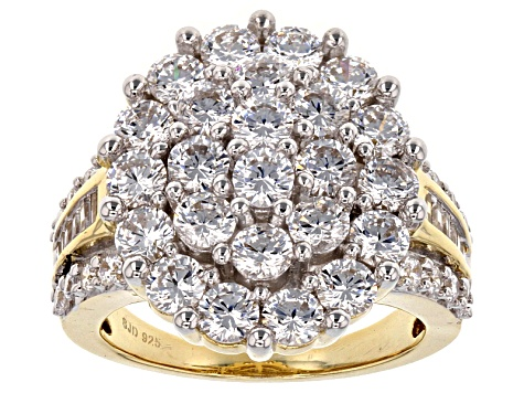 White Cubic Zirconia 18k Yellow Gold Over Sterling Silver Ring 7.28ctw