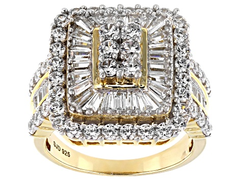 Cubic Zirconia 18k Yellow Gold Over Silver Ring 5.90ctw (3.06ctw DEW)