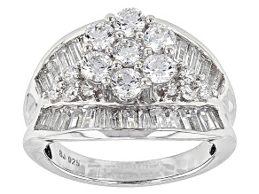 Cubic Zirconia Rhodium Over Sterling Silver Ring 5.21ctw (3.17ctw DEW)