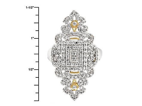 White Cubic Zirconia Rhodim Over Silver And 18k Yg Over Silver Ring 1.66ctw