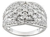 White Cubic Zirconia Rhodium Over Sterling Silver Ring 2.15ctw