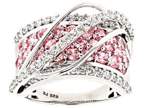 Pink And White Cubic Zirconia Silver Ring 4.70ctw (2.44ctw DEW)