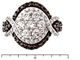 White And Brown Cubic Zirconia 18k Rose Gold Over Silver Ring 2.76ctw (1.57ctw DEW)
