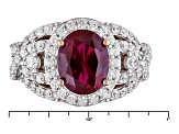 Synethetic Red Corundum And White Cubic Zirconia 18k Rose Gold Over Silver Ring 4.95ctw