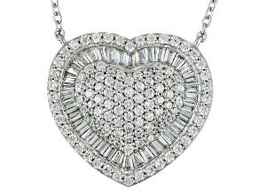 Cubic Zirconia Silver Heart Necklace 5.06ctw (2.08ctw DEW)