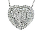 Cubic Zirconia Silver Heart Necklace 5.06ctw (2.08ctw DEW)