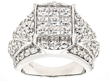 Picture of Cubic Zirconia Silver Ring 5.97ctw (3.30ctw DEW)
