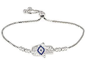Synthetic Blue Spinel And White Cubic Zirconia Rhodium Over Sterling Bracelet .46ctw