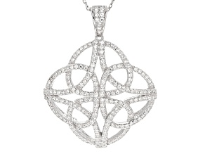 White Cubic Zirconia Rhodium Over Silver Pendant With Chain .96ctw