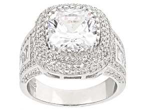 White Cubic Zirconia Rhodium Over Silver Ring 10.64ctw