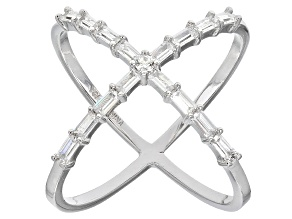 White Cubic Zirconia Rhodium Over Sterling Silver Ring 1.61ctw