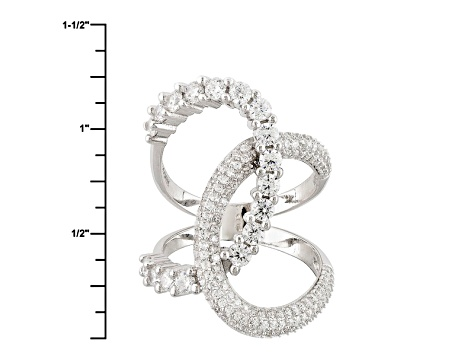 White Cubic Zirconia Rhodium Over Sterling Silver Ring 1.83ctw