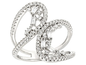White Cubic Zirconia Rhodium Over Silver Ring .92ctw