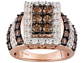Brown And White Cubic Zirconia 18k Rose Gold Over Silver Ring 4.58ctw (2.28ctw DEW)