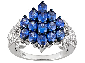 Blue And White Cubic Zirconia Rhodium Over Sterling Silver Ring 5.46ctw