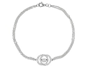 White Cubic Zirconia Rhodium Over Sterling Silver Bracelet .91ctw