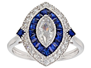 Blue Lab Created Spinel And White Cubic Zirconia Rhodium Over Sterling Silver Ring 1.62ctw