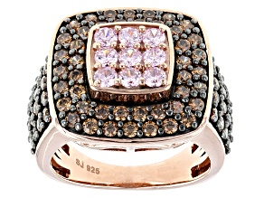 Pink And Brown Cubic Zirconia 18k Rose Gold Over Silver Ring 4.40ctw (2.89ctw DEW)