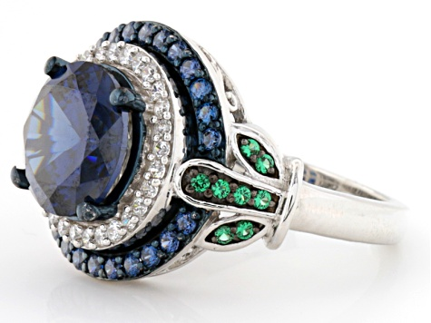 Blue, Green And White Cubic Zirconia Silver Ring 7.68ctw