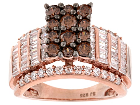 Brown And White Cubic Zirconia 18k Rose Gold Over Silver Ring 4.36ctw (2.99ctw DEW)