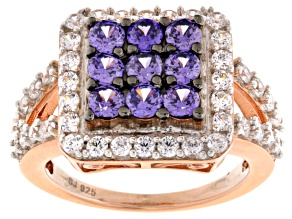 Purple And White Cubic Zirconia 18k Rose Gold Over Silver Ring 3.84ctw (1.99ctw DEW)