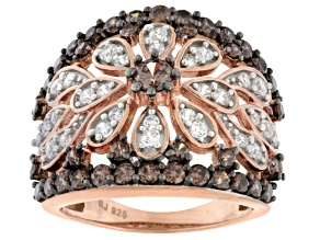 Brown And White Cubic Zirconia 18k Rose Gold Over Silver Ring 3.65ctw (1.84ctw DEW)