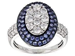 Blue And White Cubic Zirconia Silver Ring 3.43ctw