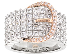 White Cubic Zirconia Rhodium Over Silver And 18k Rose Gold Over Sterling Silver Ring 5.16ctw