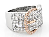 White Cubic Zirconia Silver And 18k Rose Gold Over Sterling Silver Ring 5.16ctw
