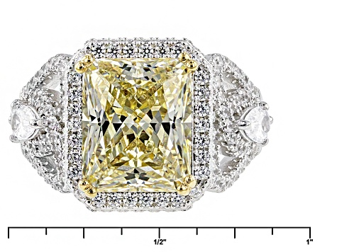 Yellow And White Cubic Zirconia Rhodium Over Sterling Silver Ring 9.59ctw