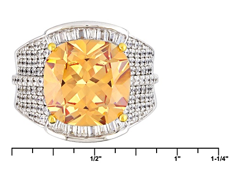 Brown And White Cubic Zirconia Rhodium Over Sterling Ring 13.97ctw