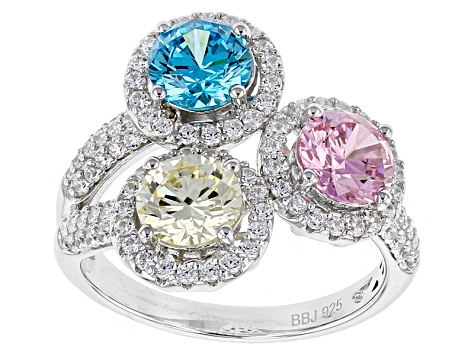 Multicolor Cubic Zirconia Rhodium Over Sterling Silver Ring 5.32ctw