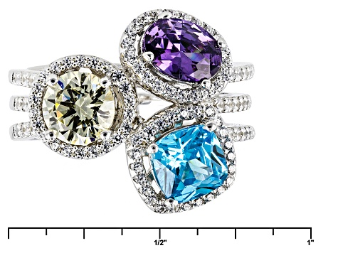 Blue, Purple, Yellow, And White Cubic Zirconia Rhodium Over Sterling Ring 5.17ctw