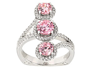 Pink And White Cubic Zirconia Rhodium Over Sterling Silver Ring 4.07ctw