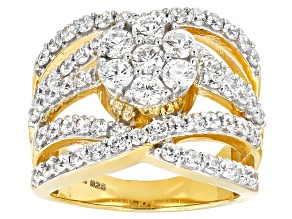 Cubic Zirconia 18k Yellow Gold Over Silver Ring 4.15ctw (2.32ctw DEW)