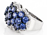 Blue And White Cubic Zirconia Silver Ring 8.20ctw
