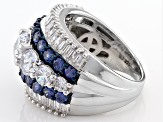 Blue And White Cubic Zirconia Rhodium Over Sterling Silver Ring 8.98ctw