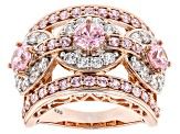 Pink And White Cubic Zirconia 18k Rose Gold Over Silver Ring 6.16ctw (3.12ctw DEW)