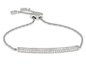 White Cubic Zirconia Rhodium Over Silver Adjustable Bracelet 1.28ctw