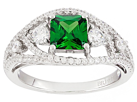 Green And White Cubic Zirconia Rhodium Over Sterling Silver Ring 2.76ctw