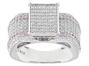 Pink And White Cubic Zirconia Rhodium Over Sterling Silver Ring 2.26ctw
