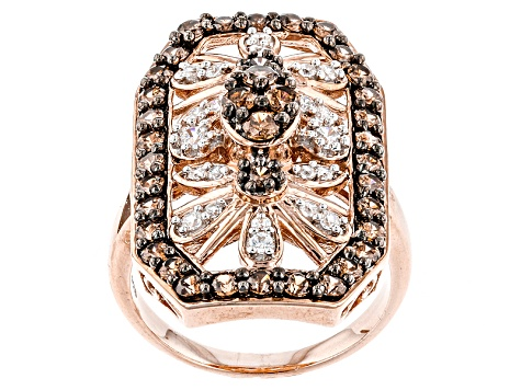Brown And White Cubic Zirconia 18k Rose Gold Over Silver Ring 3.04ctw (1.44ctw DEW)