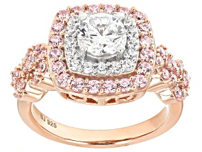 White And Pink Cubic Zirconia 18k Rose Gold Over Silver Ring 3.74ctw (2.01ctw DEW)