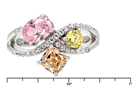 Pink, Brown, Yellow, And White Cubic Zirconia Rhodium Over Silver Ring 3.35ctw