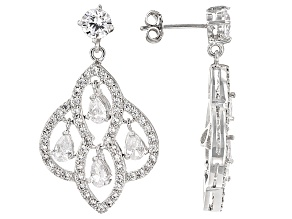 White Cubic Zirconia Rhodium Over Sterling Silver Earrings 5.88ctw