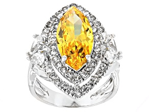 Yellow And White Cubic Zirconia Rhodium Over Sterling Silver Ring 9.47ctw