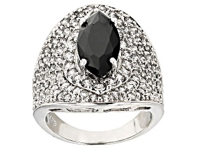 Black And White Cubic Zirconia Rhodium Over Sterling Silver Ring 7.60ctw