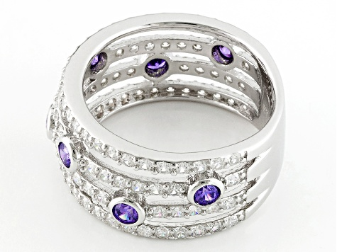 Purple And White Cubic Zirconia Rhodium Over Sterling Silver Ring 3.49ctw
